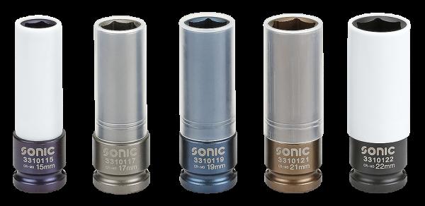 Sonic Equipment Radschraubennüsse in 15, 17, 19, 21, 22 mm mit Felgenschutz