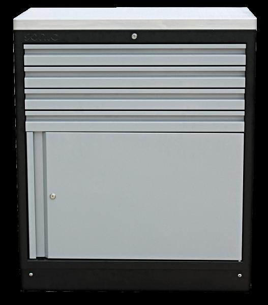 MSS 845mm Schrank mit Türe mit Edelstahl-Arbeitsplatte