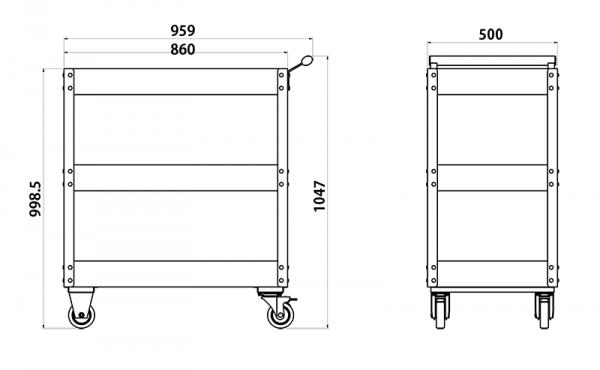 Sonic Equipment Werkstatt Servicewagen schwarz
