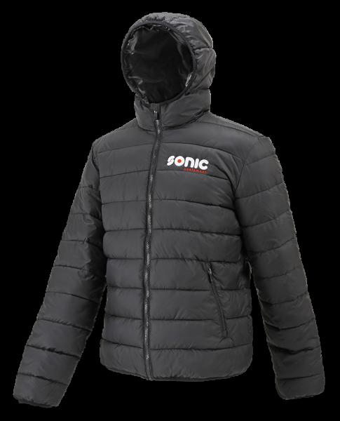 Hooded zepelin jacket, black/black M