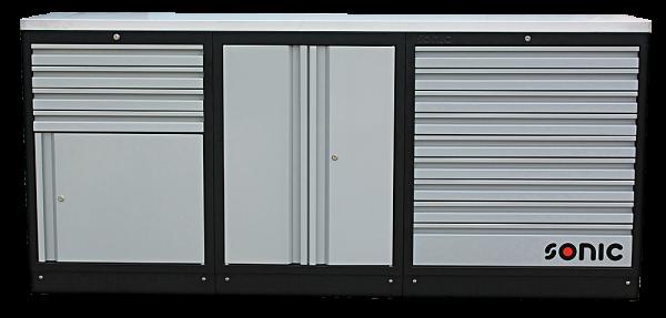 MSS 2193mm Schrankwand mit Edelstahl-Arbeitsplatte