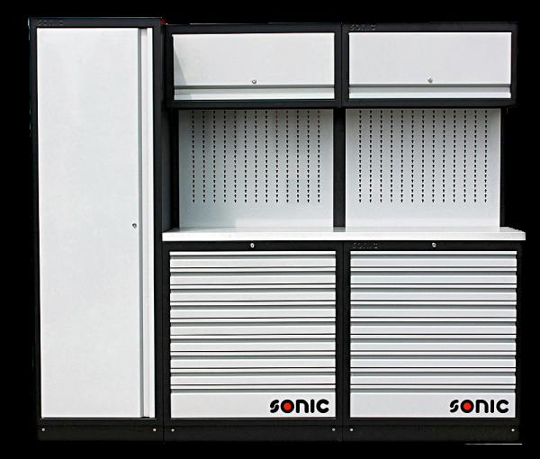 MSS 2300mm Schrankwand mit Edelstahl-Arbeitsplatte