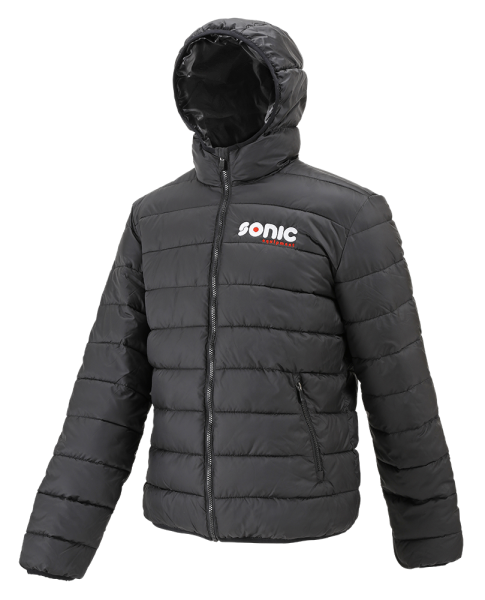 Hooded zepelin jacket, black/black L