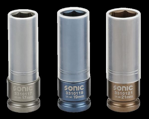 Sonic Equipment Radschraubennüsse 1/2 Zoll in 17 19 21 mm mit Felgenschutz