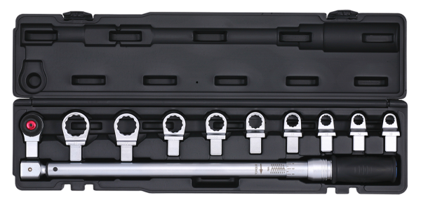 1/2'' Drehmomentschlüssel mit diversen Ringaufsätzen,11-tlg.