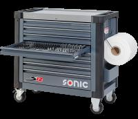 Sonic Equipment Werkstattwagen S12 gefüllt, 158-tlg., dunkelgrau