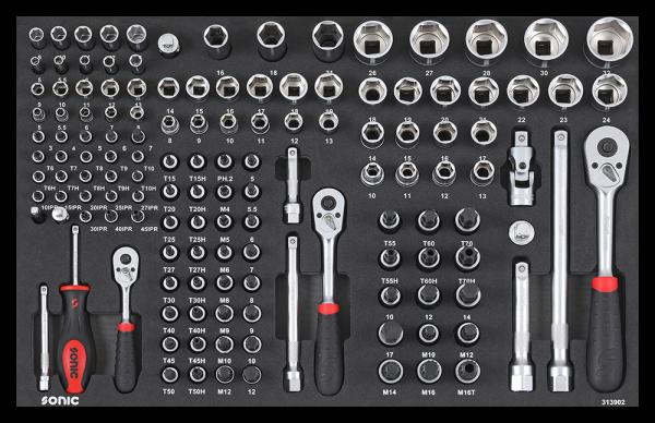 SFS 1/4'', 3/8'', 1/2'' Nuss- und Bit-Set mit Ratschen 139-t