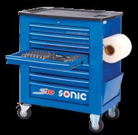 Werkstattwagen S10 gefüllt, 539-tlg., Schaum 1/3, blau