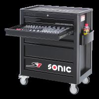 Sonic Equipment Werkstattwagen S7 gefüllt, 158-tlg., schwarz