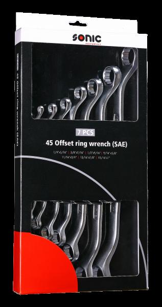 Gekröpfte Ringschlüssel-Set, SAE, 7-tlg.