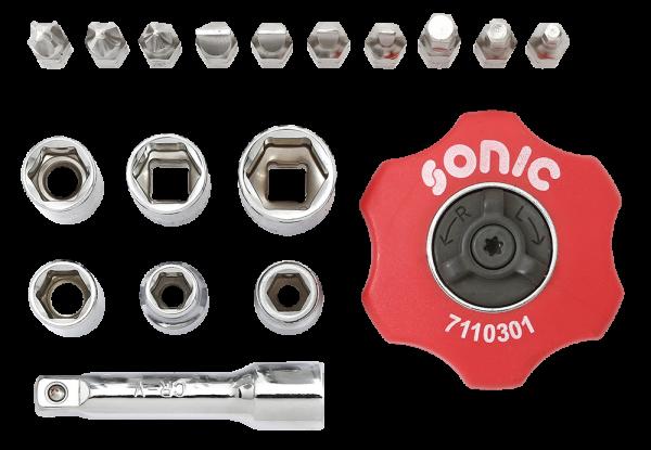 Sonic Equipment Handratschen Set 1/4 Zoll 19 Teile