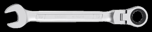 Ring-Gabelschlüssel mit Ratsche, flexibel, 12-kant, 19mm