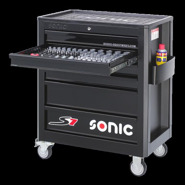 Sonic Equipment Werkstattwagen S7 gefüllt, 149-tlg., schwarz