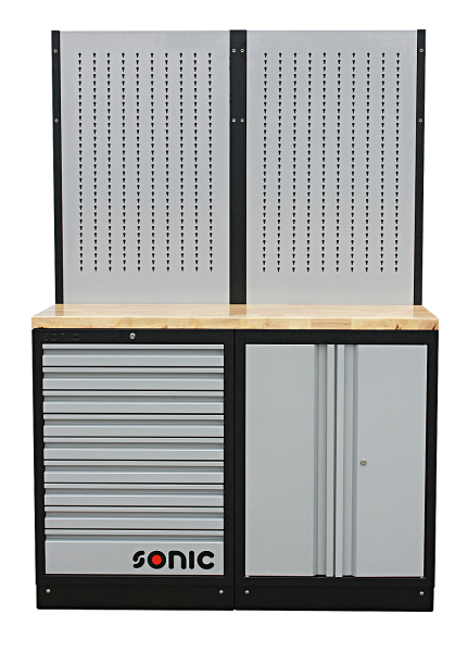 MSS 1348mm Schrankwand mit Holz-Arbeitsplatte