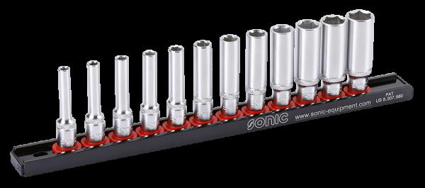 Sonic Equipment 1/4 Zoll Nuss Set 6 kant lang auf Steckleiste 12 teilig