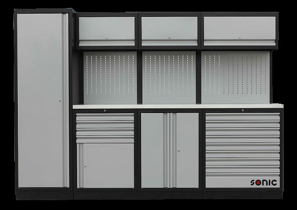 MSS 2803mm Schrankwand mit extra Tief Edelstahl-Arbeitsplatt