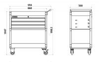 Werkstatt-Servicewagen mit 3 Schubladen,gefüllt, 158-TLG. schwarz