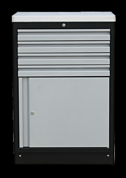 MSS 674mm Schrank mit Türe mit Edelstahl-Arbeitsplatte