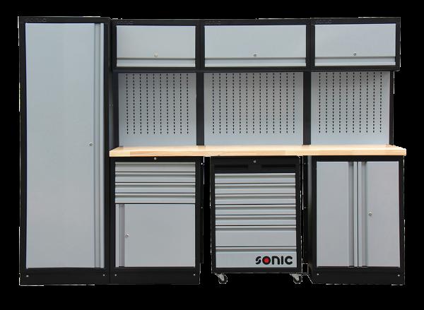 MSS 2803mm Schrankwand mit Holz-Arbeitsplatte
