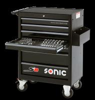 Sonic Equipment Werkstattwagen S8 gefüllt 206 Teile schwarz