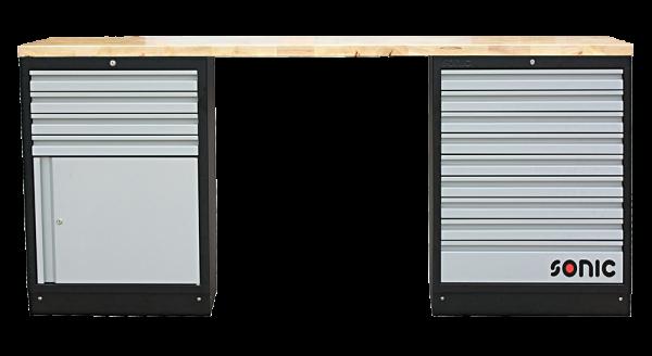 MSS 2193mm Schrankwand mit Holz-Arbeitsplatte