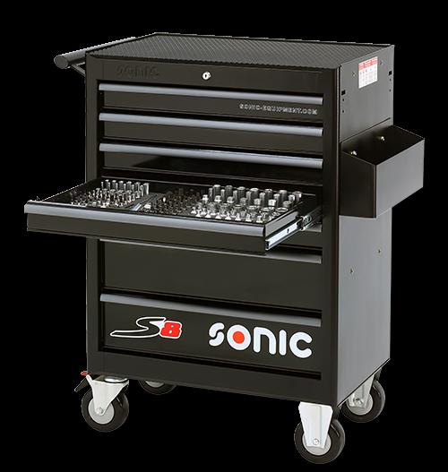 Sonic Equipment Werkstattwagen S8 gefüllt, 149-tlg., Schwarz