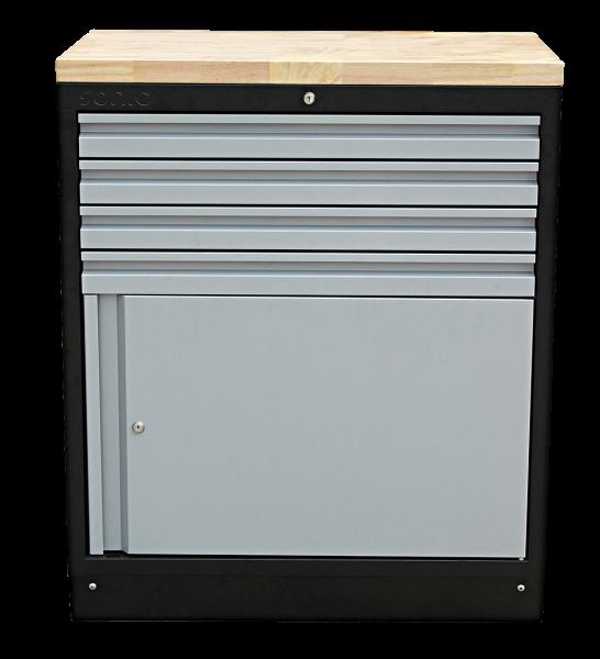 MSS 845mm Schrank mit Türe mit Holz-Arbeitsplatte